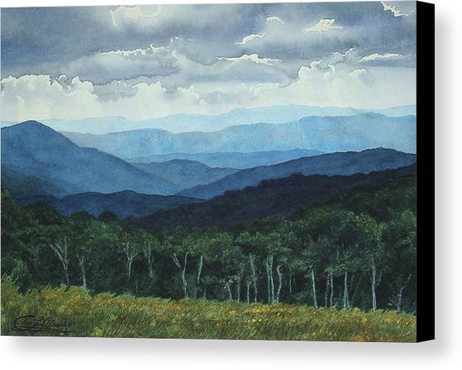 Blue Ridge Mountains Canvas Print featuring the painting Blue Ridge From Grassy Bald Study by Craig Gallaway