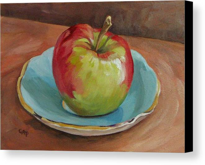 Still Life Canvas Print featuring the painting Blue Saucer With Apple by Cheryl Pass
