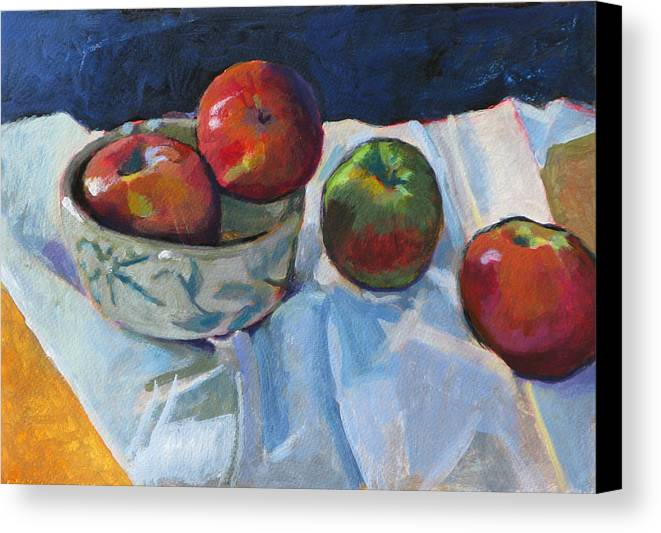 Apple Canvas Print featuring the painting Bowl Of Apples by Robert Bissett