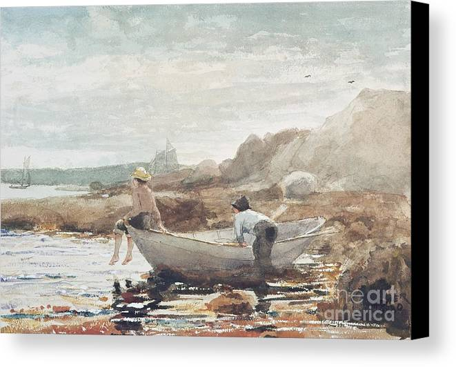 Boys On The Beach (w/c On Paper) By Winslow Homer (1836-1910) Rowing Boat; Fishing; Boy; Male; Children; Child; Playing; Summer; Coast; Coastal; Rocks; Rocky; Boat Canvas Print featuring the painting Boys On The Beach by Winslow Homer