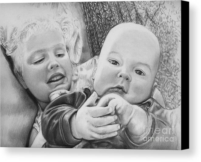 Babies Canvas Print featuring the drawing Brynn And Austin by Carliss Mora