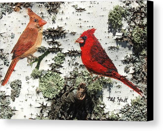 Cardinals Canvas Print featuring the painting Cardinal Pair II by Philip Hall