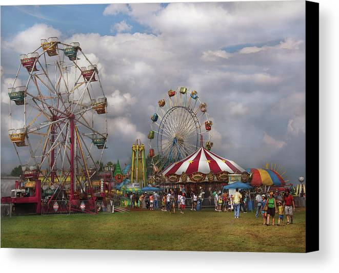 Savad Canvas Print featuring the photograph Carnival - Traveling Carnival by Mike Savad