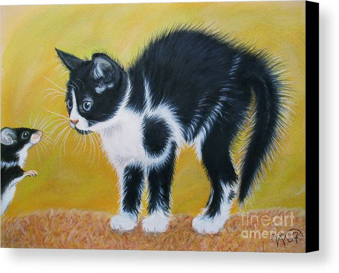 Cat Canvas Print featuring the painting Cat And Mouse by Valentina Vassilieva