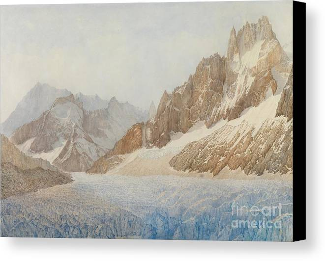 The Mer De Glace Canvas Print featuring the painting Chamonix by SIL Severn