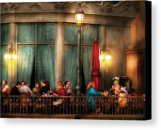Savad Canvas Print featuring the photograph City - Vegas - Paris - The Outdoor Cafe by Mike Savad