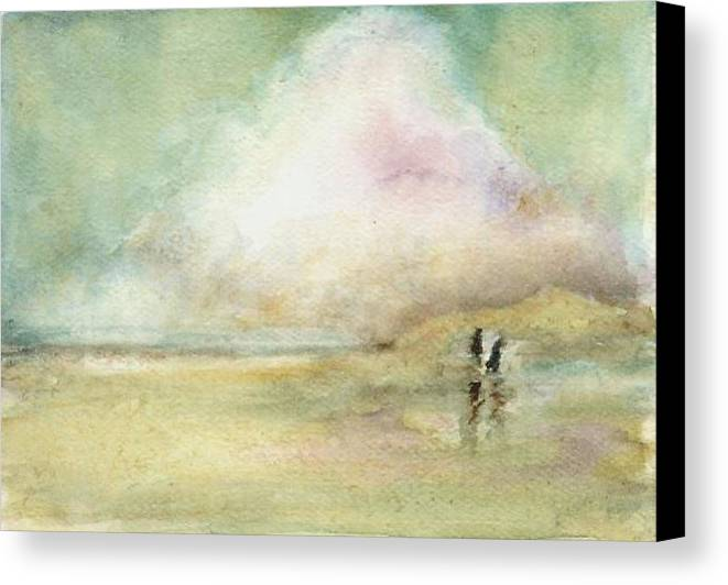 Beach Scene Canvas Print featuring the print Corolla Beach Stroll by Donna Elio