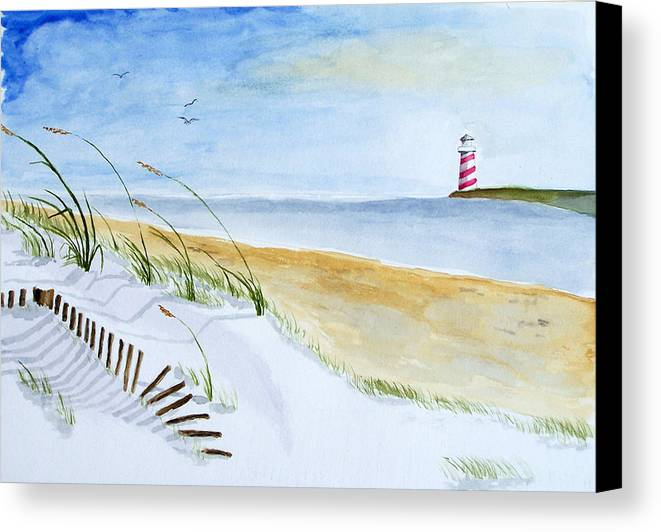 Beach Canvas Print featuring the painting Cove With Lighthouse by Robert Thomaston