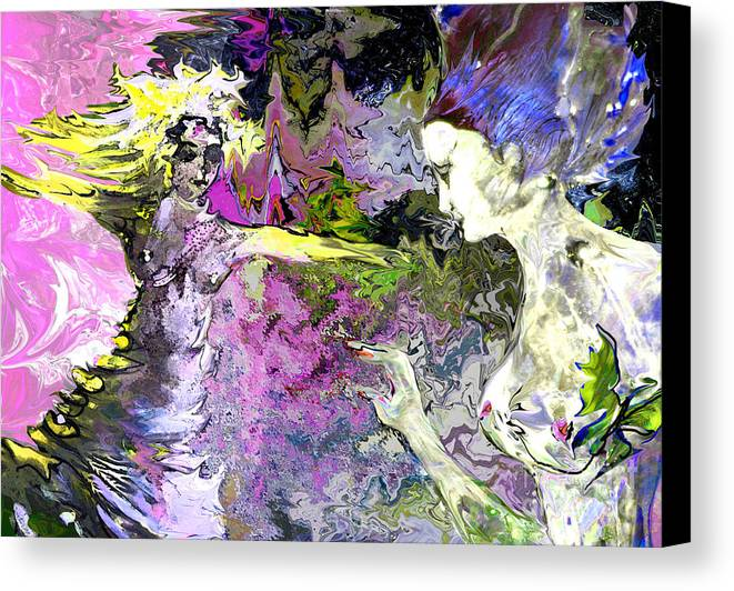 Miki Canvas Print featuring the painting Dance In Violet by Miki De Goodaboom