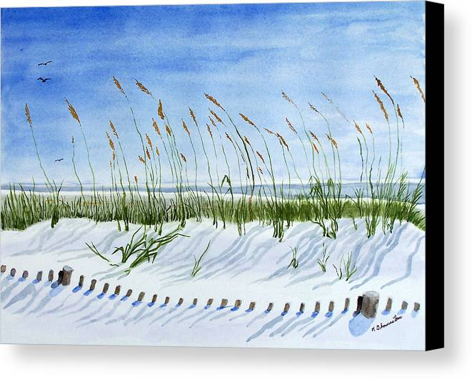 Beach Canvas Print featuring the painting Drift Fence Almost Covered by Robert Thomaston