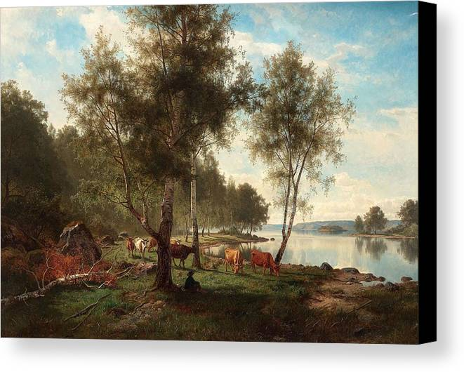 Nature Canvas Print featuring the painting Edvard Bergh, Summer Landscape With Cattle And Birches. by Edvard Bergh