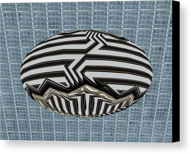 Digital Canvas Print featuring the digital art Egg Blimp In The Hanger by Thomas Smith