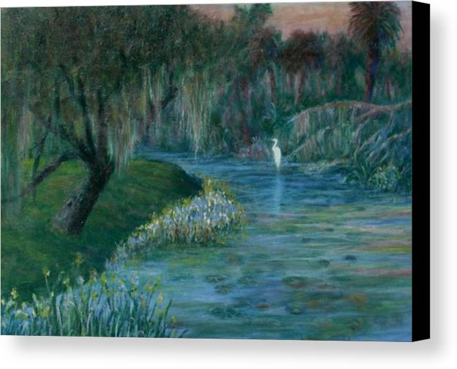 Low Country; Egrets; Lily Pads Canvas Print featuring the painting Evening Shadows by Ben Kiger