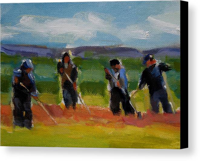 Landscape Canvas Print featuring the painting Field Workers In Watsonville - Study by Merle Keller