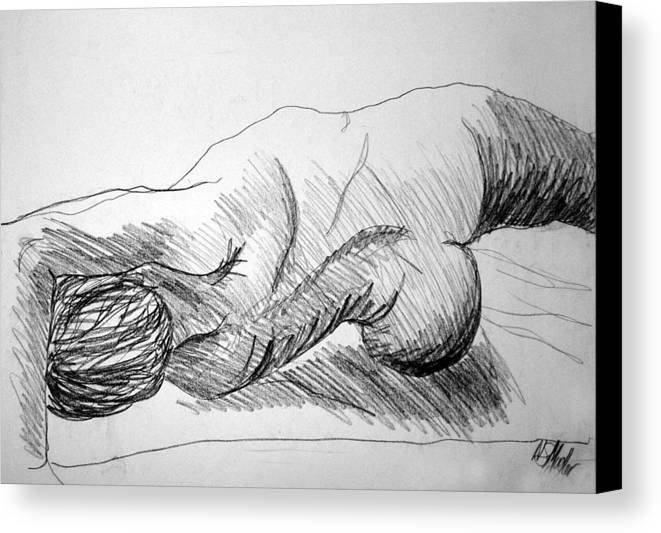 Figure Canvas Print featuring the drawing Figure Drawing 2 by Nancy Mueller