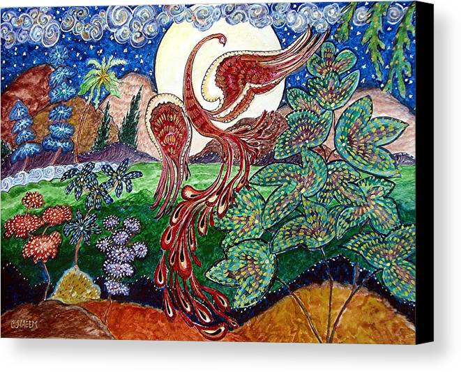 Folk Canvas Print featuring the painting Firebird by Caroline Urbania Naeem