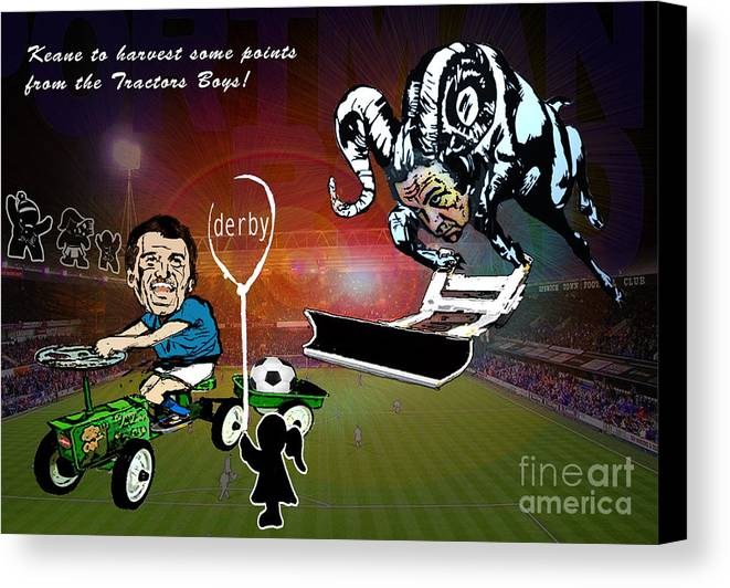 Canvas Print featuring the painting Football Derby Rams Against Ipswich Tractor Boys by Miki De Goodaboom
