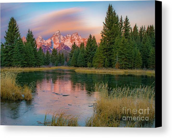 Grand Tetons Canvas Print featuring the photograph Frosty Sunrise by Brad Schwarm