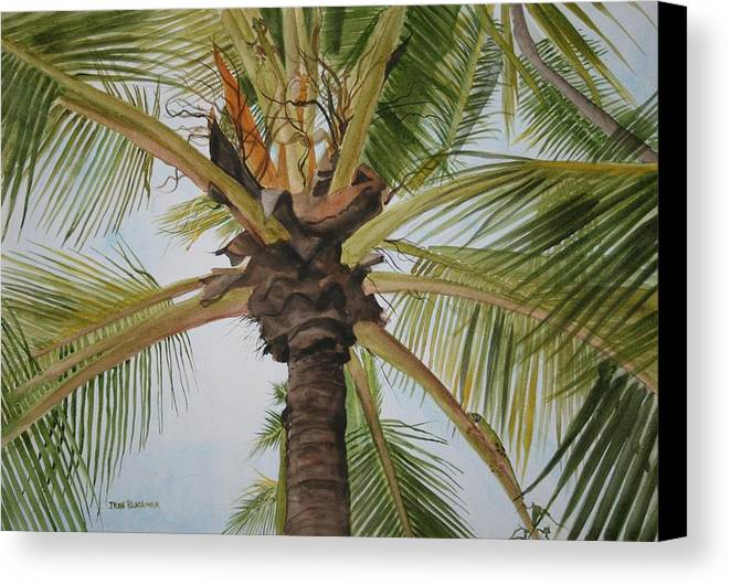 Palm Tree Canvas Print featuring the painting Gecko Heaven by Jean Blackmer