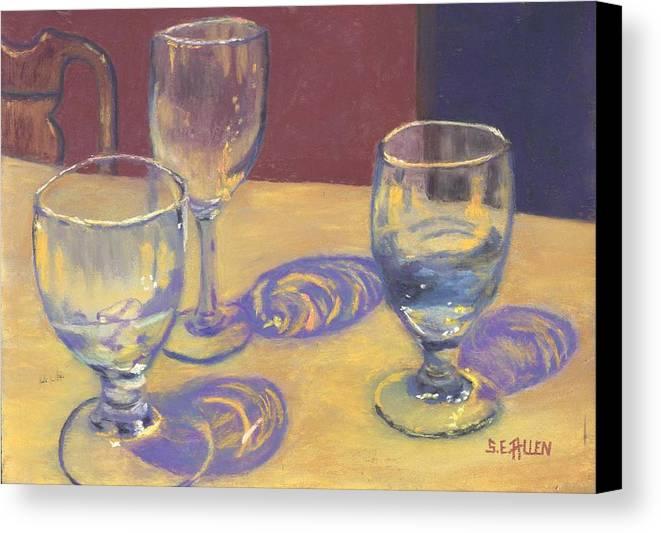 Glasses Canvas Print featuring the painting Glasslights by Sharon E Allen