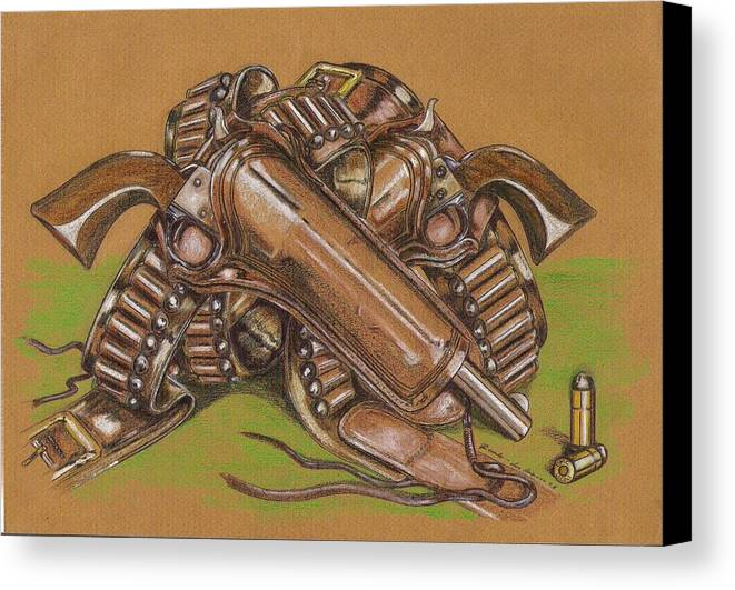 Holster Canvas Print featuring the drawing Gunfighter S Legacy by Ricardo Reis