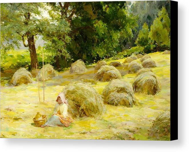 Haytime Canvas Print featuring the painting Haytime by Rosa Appleton