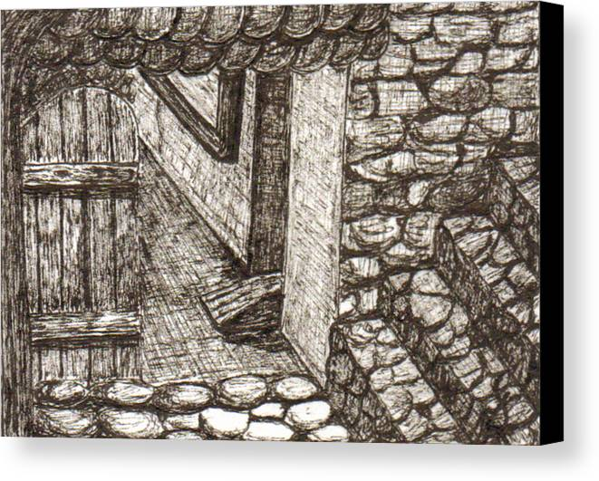 Landscape Canvas Print featuring the drawing Hidden Courtyard by Julie Ford