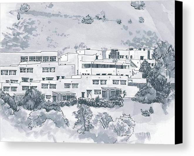 Landscape Canvas Print featuring the drawing Indian Lodge by Karen Boudreaux