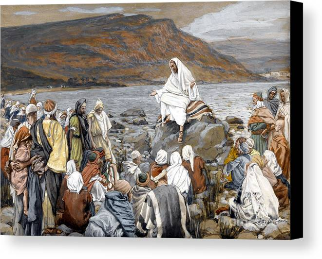 Tissot Canvas Print featuring the painting Jesus Preaching by Tissot