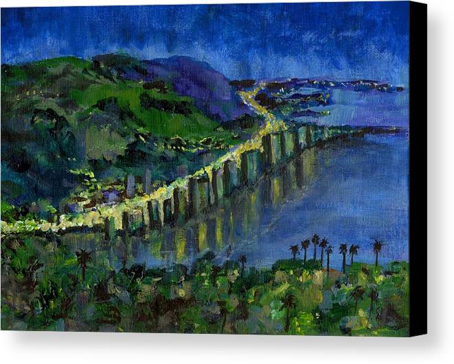 Laguna Canvas Print featuring the painting Laguna Shores At Night by Randy Sprout