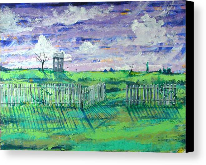 Landscape Canvas Print featuring the painting Landscape With Fence by Rollin Kocsis