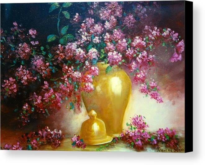 Lilacs Canvas Print featuring the digital art Lilacs In Gold Vase by Jeanene Stein