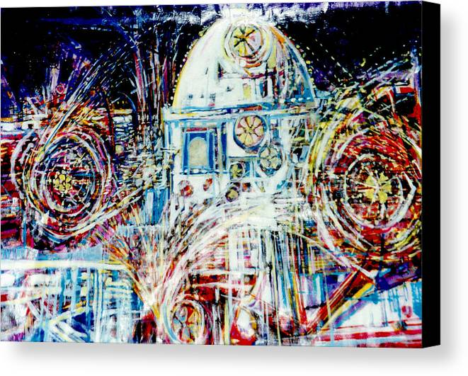 Landscape Canvas Print featuring the mixed media Mexican Fireworks by Dale Witherow
