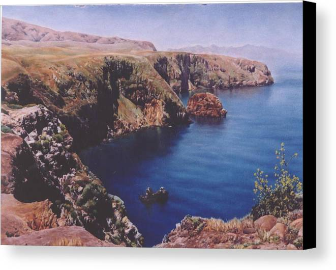 Water Canvas Print featuring the painting Morning On Santa Cruz by Marion Hylton