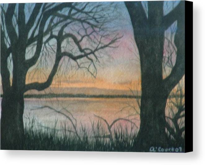 Landscape Canvas Print featuring the painting Nut Island by Lynn ACourt