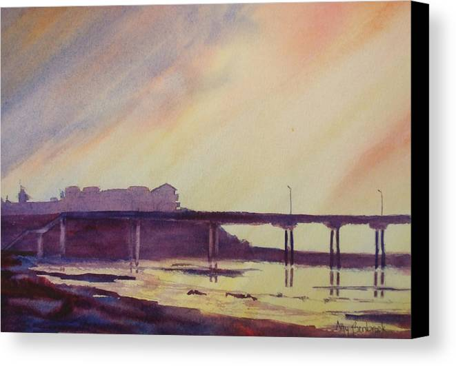 Sunset Canvas Print featuring the painting Ocean Beach Pier 4 by Ally Benbrook
