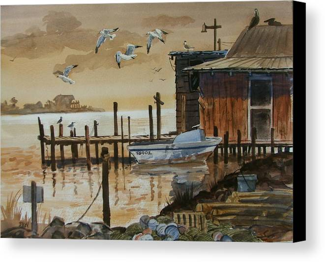 Boathouse Canvas Print featuring the painting Old Boathouse by Dianna Willman