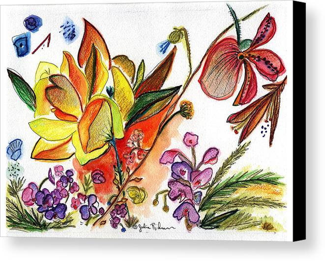 Flowers Canvas Print featuring the painting Orchid No. 30 by Julie Richman