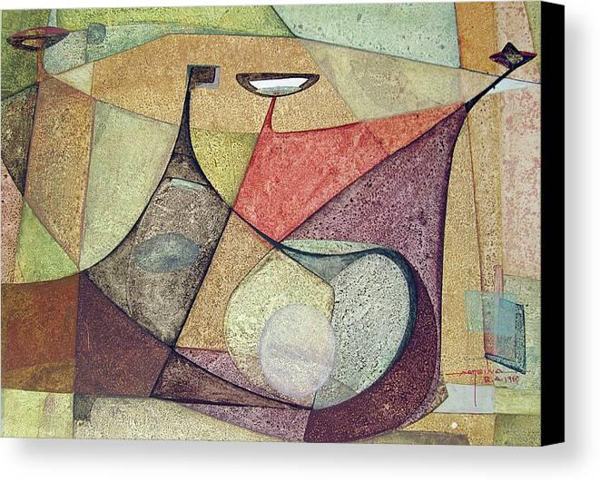 Bones Canvas Print featuring the painting Os1960ar001ba Abstract Design 16.75x11.5 by Alfredo Da Silva