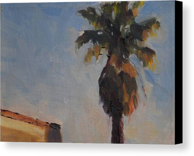 Landscape Canvas Print featuring the painting Palm Tree In Winter Light by Merle Keller