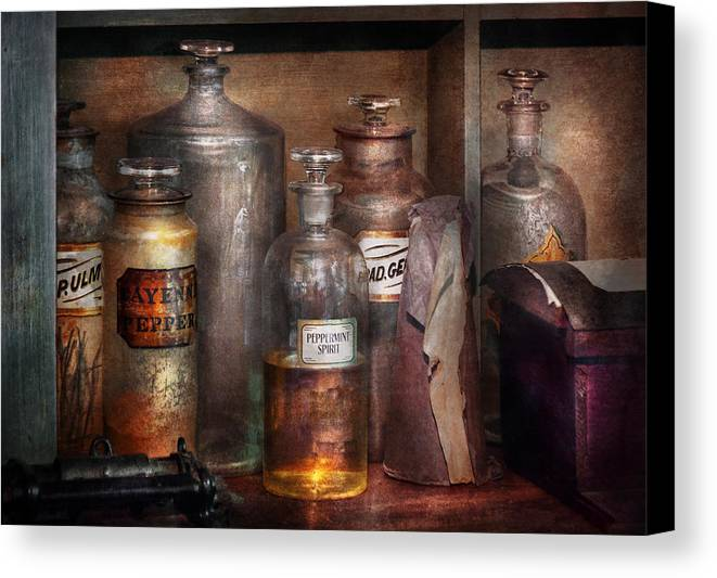 Apothecary Canvas Print featuring the photograph Pharmacy - That's The Spirit by Mike Savad