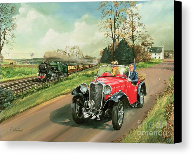 Car Canvas Print featuring the painting Racing The Train by Richard Wheatland