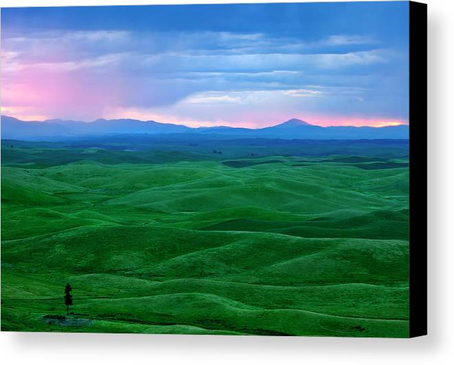 Palouse Canvas Print featuring the photograph Red Dawn Over The Palouse by Mike Dawson