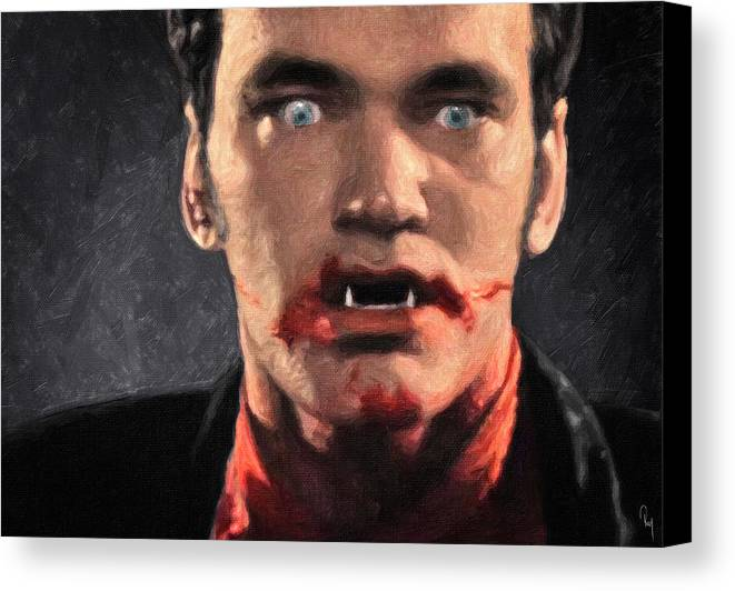Richie Rising Canvas Print featuring the painting Richie Rising - From Dusk Till Dawn by Zapista