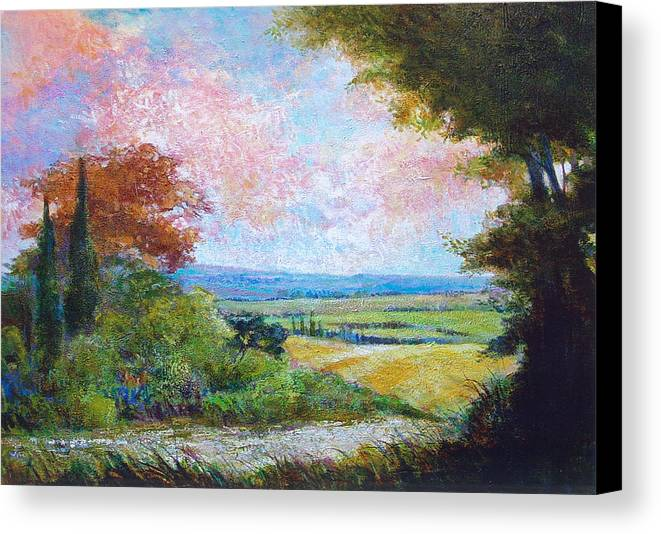 Landscape Canvas Print featuring the painting Road To The Fields by Dale Witherow