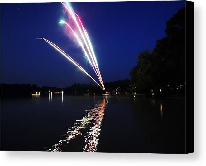 Fireworks Canvas Print featuring the photograph Roman Candle by Ty Helbach