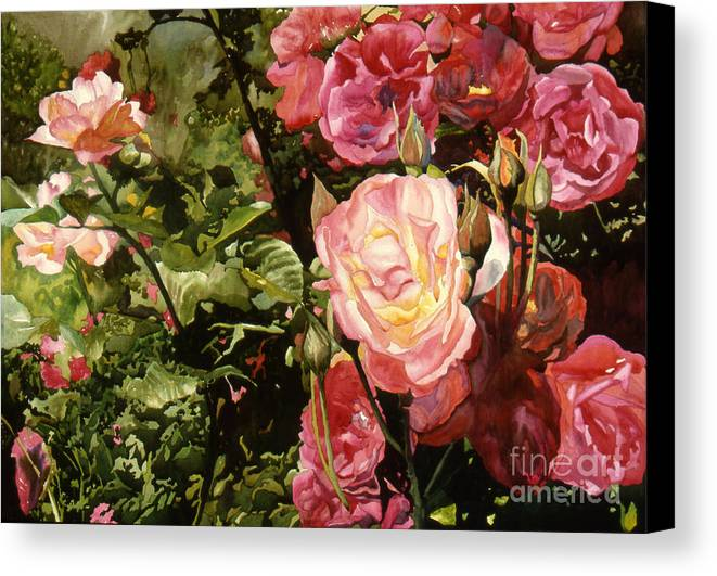 Watercolor Canvas Print featuring the painting Rose Garden by Teri Starkweather