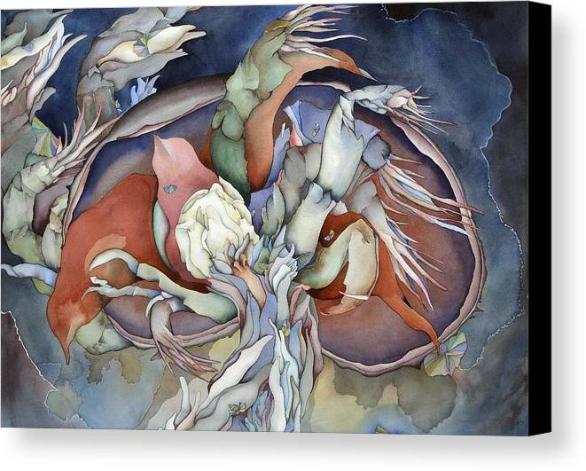 Sealife Canvas Print featuring the painting Searching Deep Within by Liduine Bekman