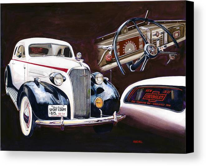 1937 Chevy Chevrolet Automobile Car Showroom Sport Coupe Auto 37 Painting Realism Brown Black White Dashboard Interior Canvas Print featuring the painting Show And Tell 1937 by Mike Hill