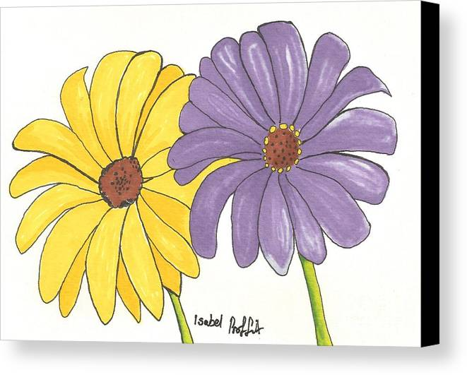 Flowers Canvas Print featuring the drawing Simple Flower by Isabel Proffit